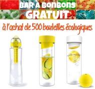 bar à bonbons gratuit à l'achat de 500 bouteilles écologique